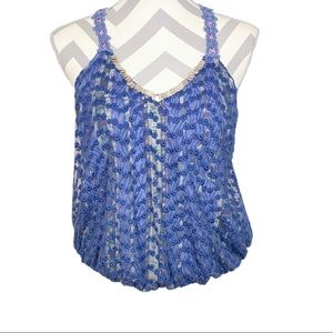 Free People Lace Blouse Blue Size Small
